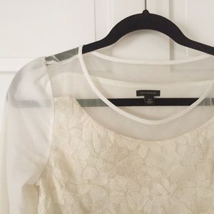 Ann Taylor blouse, sheer sleeves, gold embroidery